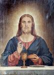 Kristus siunaa ehtoollileivän ja -viinin vuodelta 1889.